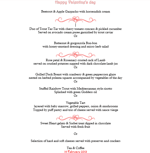 Valentine's Day Menu - Walkersons Hotel & Spa